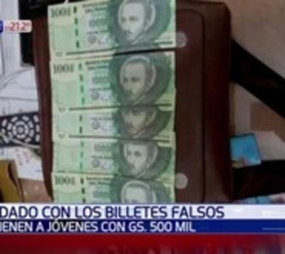 Detienen a joven con varios billetes de G. 100 mil falsos