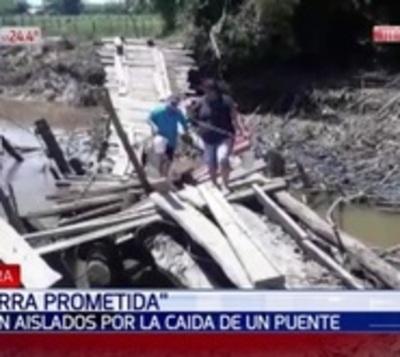 """""""Tierra Prometida"""": Cayó un puente y aisló a 50 familias en Caaguazú"""