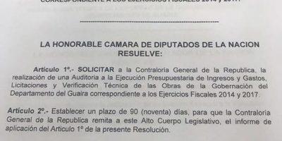 Cámara de Diputados pide informe a la Contraloría y solicita auditoria de  la Gobernación de Guairá