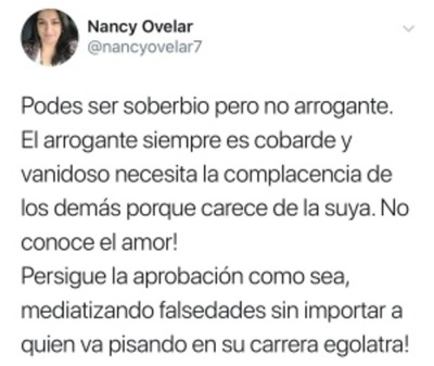 """Podés ser soberbio, pero no arrogante"", dijo Nancy"