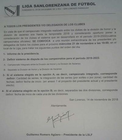 LSLF: Convocatoria para estudiar reglamento del campeonato 2019-2022