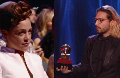 ¿No le gustó? La comentada cara de Natalia Lafourcade cuando Maluma ganó un Grammy