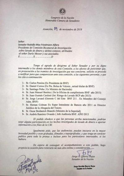 Peña y Boidanich, entre primeros convocados a declarar ante Comisión Messer