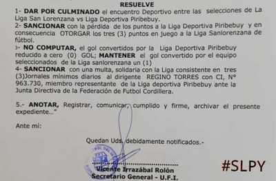 Selección Sanlorenzana: Así como anticipamos, tribunal adjudico los puntos