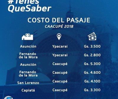 Tarifas de pasajes vigentes para Caacupé 2018