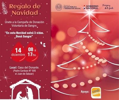 """Presentarán campaña """"Regalo de Navidad"""" del Programa Nacional de Sangre"""