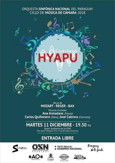 Cierre de ciclo de música de cámara de la OSN con el Cuarteto Hyapu