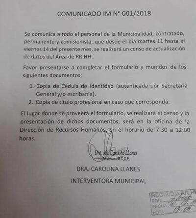 Interventora dispone censo de funcionarios municipales y pone en jaque a hurreros planilleros