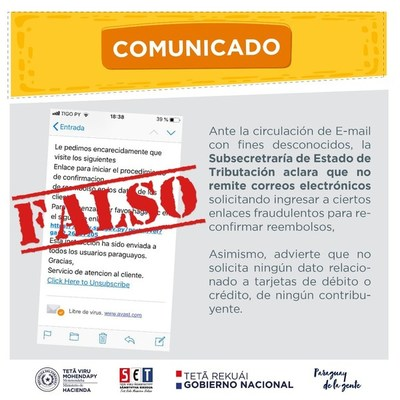 TRIBUTACIÓN ADVIERTE SOBRE CORREOS ELECTRÓNICOS FRAUDULENTOS