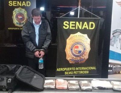 Detectan más de 7 kilos de cocaína en maleta en el Silvio Pettirossi