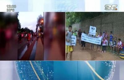 Pobladores se manifiestan en contra de los desalojos en Luque