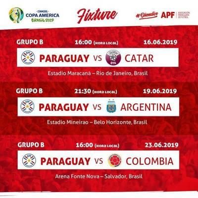 PARAGUAY COMPARTE EL GRUPO 2 CON ARGENTINA, COLOMBIA Y CATAR