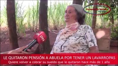 LE QUITARON PENSIÓN A ABUELA POR TENER UNA LAVARROPA