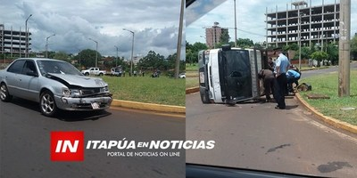 CAMIÓN VOLCÓ EN ROTONDA PADRE BOLIK Y CALLE CARLOS A. LÓPEZ.