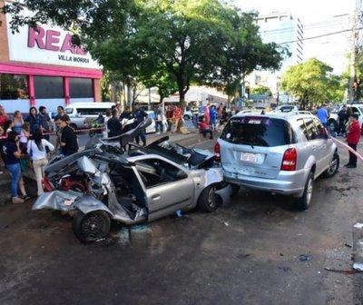 Así fue el fatal quintuple choque en Asunción