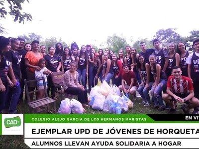 Alumnos de Horqueta festejan UPD llevando víveres a humilde familia