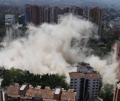 Demolieron el edificio Mónaco, la fortaleza de Pablo Escobar