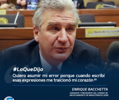 Enrique Bacchetta se quiebra y pide disculpas