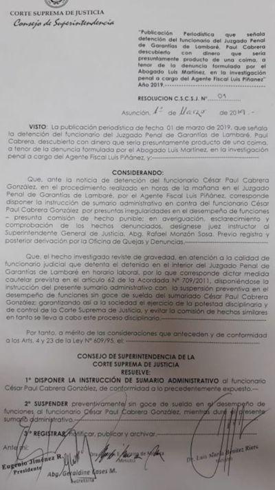 Sumarian y suspenden a funcionario del Poder Judicial