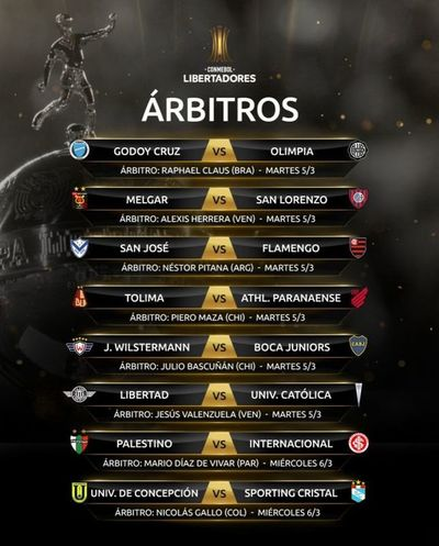 Árbitros elegidos para partidos de equipos paraguayos