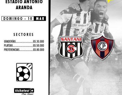 Dan conocer precios de entradas para Santaní-Cerro Porteño