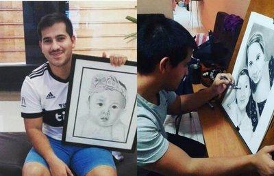 Dando vida al arte, un joven crea dibujos estéticos inspirados en los rostros