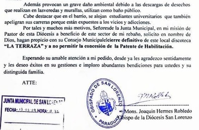 "Obispo pide cierre definitivo de Discoteca Karaoke ""La Terraza"""
