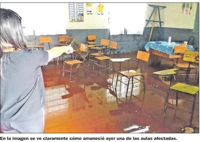 Suspenden clases por   inundación en una escuela  de Ciudad del Este