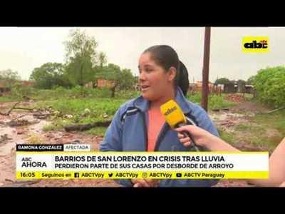 Barrios de San Lorenzo en crisis tras lluvia