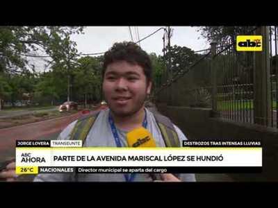 Parte de la avenida Mariscal López se hundió