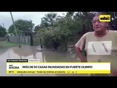 Más de 50 casas inundadas en Fuerte Olimpo
