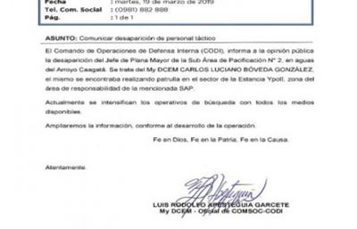 Agente de la FTC desaparece en el Arroyo Caagatã