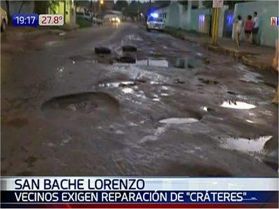 Pobladores de San Lorenzo, en pie de guerra por calles en pésimo estado