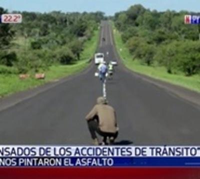 Vecinos pintan ruta buscando evitar accidentes en Horqueta