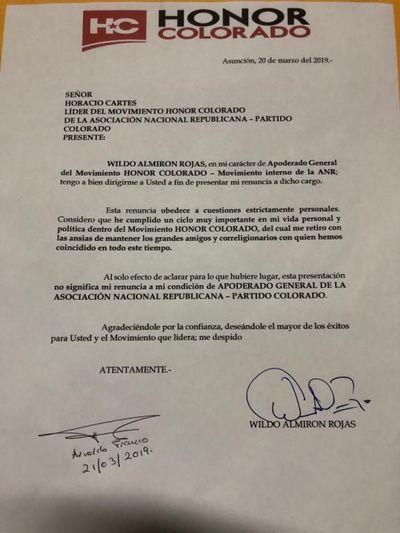 Wildo Almirón abandonó Honor Colorado