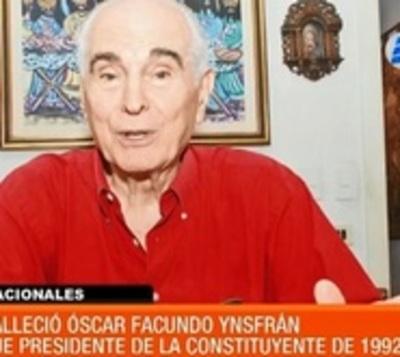 Fallece Óscar Facundo Ynsfrán, titular de la Constituyente de 1992