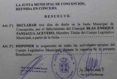 Junta Municipal declara duelo de tres días por muerte de concejal