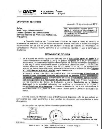 La DNCP inhabilitó a empresa adjudicada, afirma SNPP
