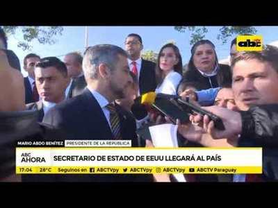 Secretario de Estado de EEUU visitará Paraguay