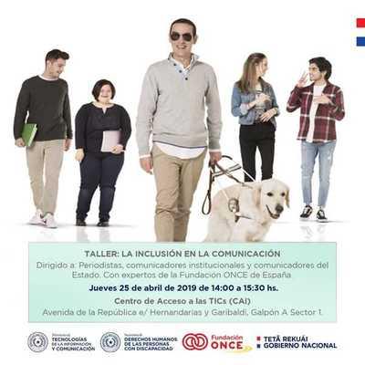 Grupo ONCE de España realizará taller sobre inclusión en la comunicación