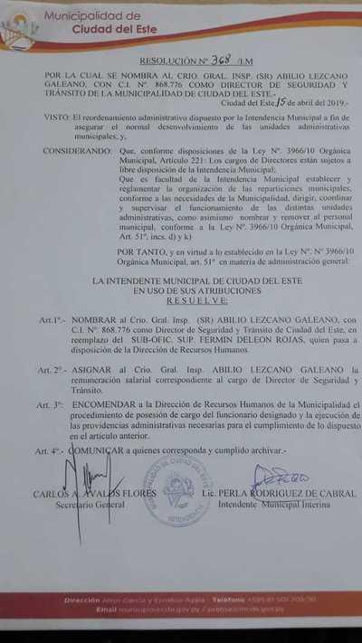 Intendente de Ciudad del Este nombra a nuevo director de Tránsito y seguridad