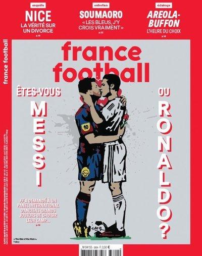 Polémica por portada de France Football: Messi y Ronaldo salen besándose