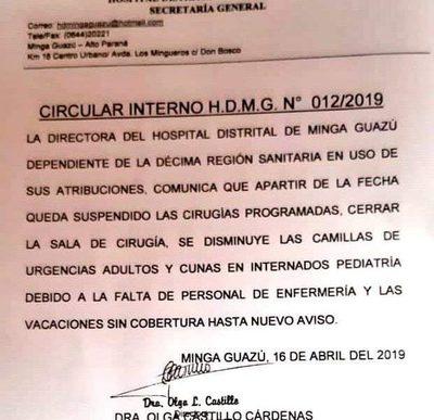 Por falta de personal suspenden servicios en hospital de Minga Guazú