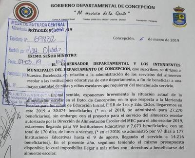 Almuerzo escolar: no hay consenso entre Gobernación y Dirección Departamental de Educación