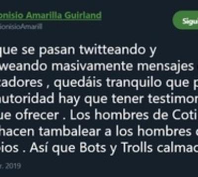 Dionisio Amarilla dice que redes sociales no lo harán tambalear