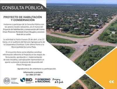 Ruta de la leche: MOPC realizará consulta informativa con la ciudadanía en Loma Plata