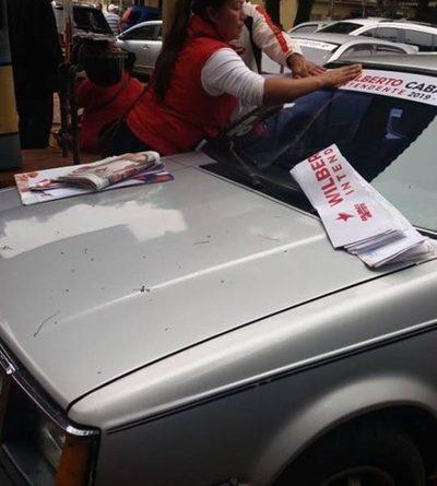 Hurrera del clan Zacarías realiza pegatinas en predio de la municipalidad de CDE