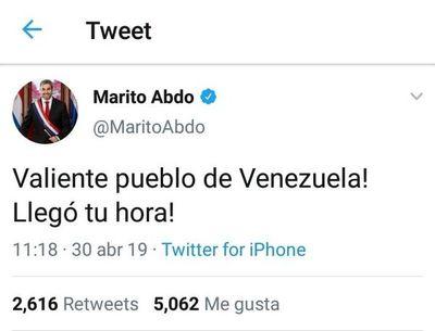 Abdo Benítez dio apoyo a Guaidó