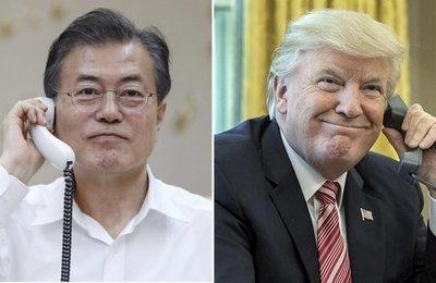 Trump y Moon hablan de Corea del Norte tras ejercicio militar