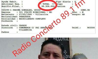 Consejero presiona en Itaipú para que blanqueen a su cuñado bachiller que gana G. 41 millones